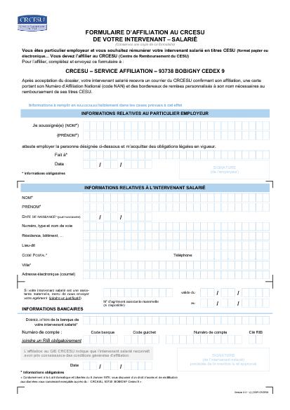 Affiliation D Un Salarie Au Centre De Remboursement Du Cesu Crcesu Formulaire Cerfa Documentissime