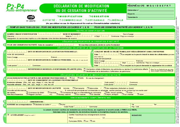 Auto entrepreneur d claration de modification ou de for Declaration changement d adresse