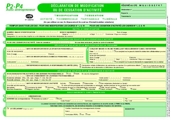 Auto Entrepreneur Declaration De Modification Ou De Cessation D