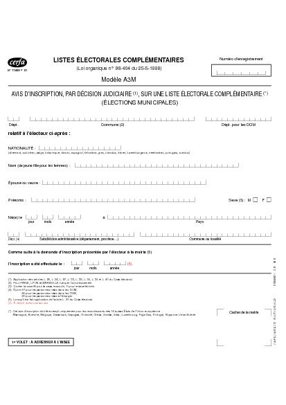 Aperçu Formulaire Cerfa No 11605-01 : Avis d'inscription par décision judiciaire sur une liste electorale complementaire (élections municipales)