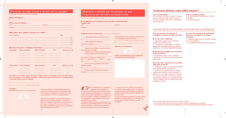 Aperçu Formulaire Cerfa No 01182-5 : Billet annuel SNCF