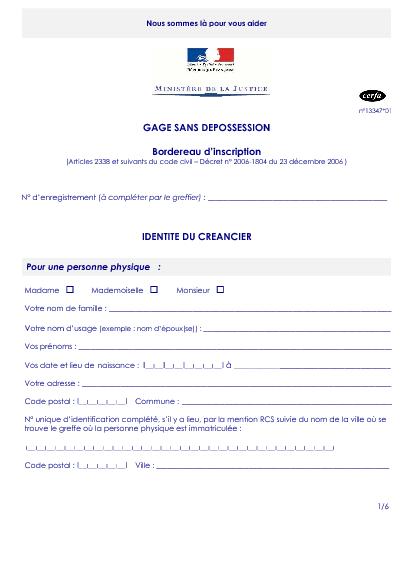 Bordereau d 39 inscription gage sans d possession for Inscription d et co