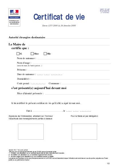 Aperçu Formulaire Cerfa No 11753-02 : Certificat de vie ( procuration) pour une personne domiciliée en France
