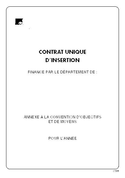 Contrat Unique D Insertion Annexe A La Convention D Objectifs Et De