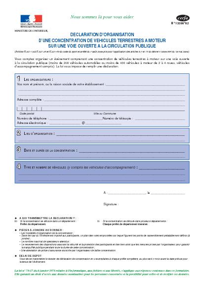 Aperçu Formulaire Cerfa No 13390-03 : Déclaration d'organisation d'une concentration de véhicules terrestres à moteur sur une voie ouverte à la circulation publique