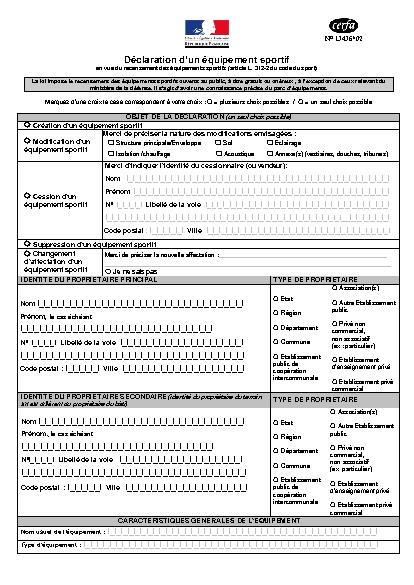Aperçu Formulaire Cerfa No 13436-02 : Déclaration d'un équipement sportif