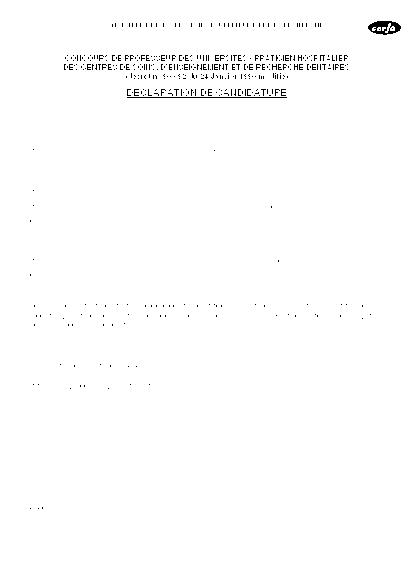 Aperçu Formulaire Cerfa No 11433-01 : Déclaration de candidature au concours de professeur des Universités - Praticiens hospitalier des centres de soins, d'enseignement et de recherche dentaires