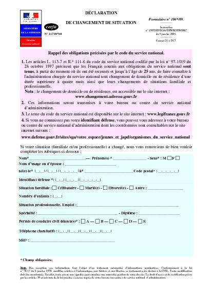 D claration de changement de situation formulaire cerfa - Declaration changement bureau association ...