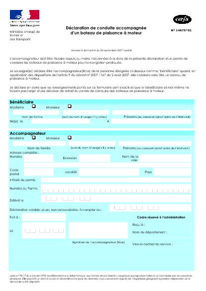 Aperçu Formulaire Cerfa No 14675-01 : Déclaration de conduite accompagnée d'un bateau de plaisance à moteur