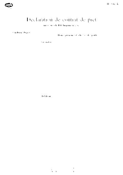 Aperçu Formulaire Cerfa No 10142-05 : Déclaration de contrat de prêt