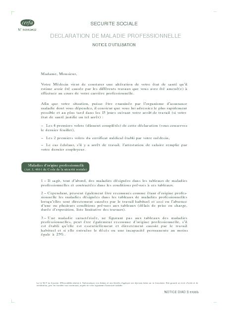 modele de lettre pour reconnaissance maladie professionnelle Déclaration de maladie professionnelle ou demande motivée de  modele de lettre pour reconnaissance maladie professionnelle