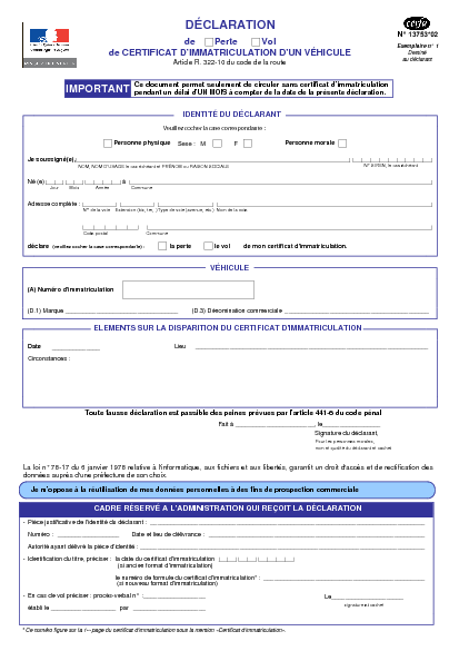 Declaration De Perte Ou Vol De Certificat D Immatriculation