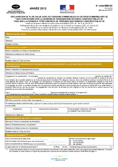 Aperçu Formulaire Cerfa No 12359-11 : Déclaration de plus-value sur les cessions d'immeubles, de terrains nus ou de droits immobiliers