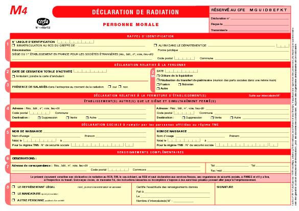 Aperçu Formulaire Cerfa No 11685-02 : Déclaration de radiation d'une entreprise - Personne morale (M4)