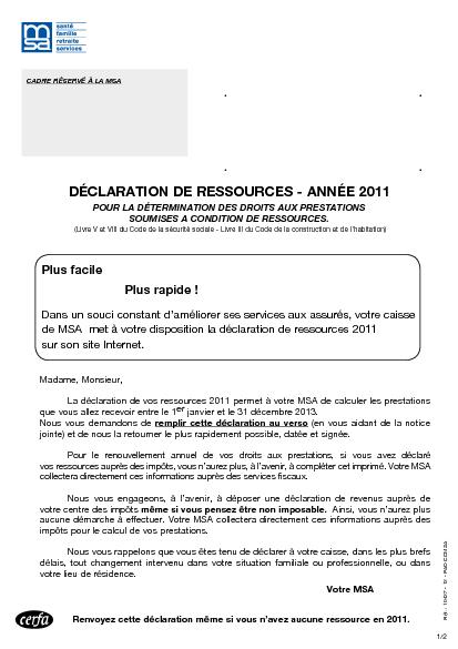 Comment remplir declaration msa la r ponse est sur - Comment calculer le plafond de ressources caf ...