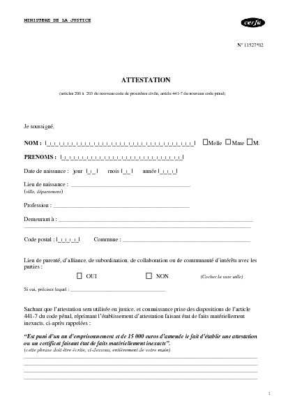 Modele Attestation Cerfa 11527 Document Online