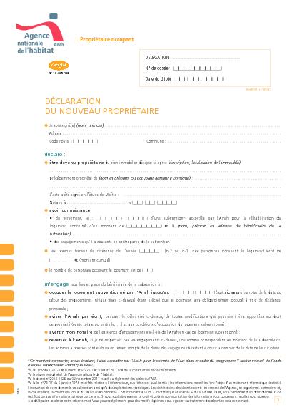 Aperçu Formulaire Cerfa No 13465-04 : Déclaration du nouveau propriétaire - Propriétaire occupant