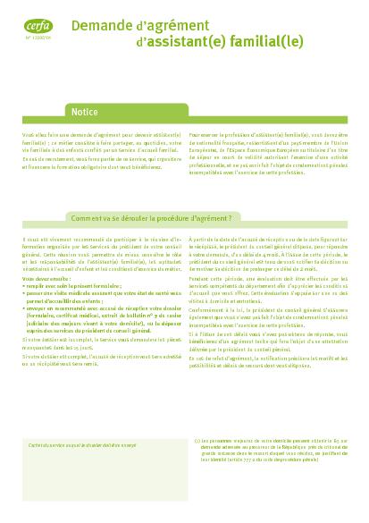 Aperçu Formulaire Cerfa No 13395-01 : Demande d'agrément d'assistant familial