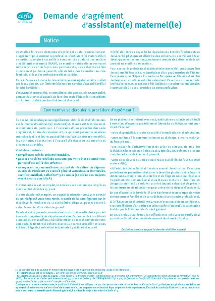 Aperçu Formulaire Cerfa No 13394-03 : Demande d'agrément d'assistant maternel