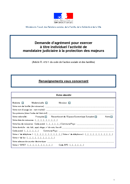 Aperçu Formulaire Cerfa No 13913-01 : Demande d'agrément pour exercer à titre individuel l'activité de mandataire judiciaire à la protection des majeurs