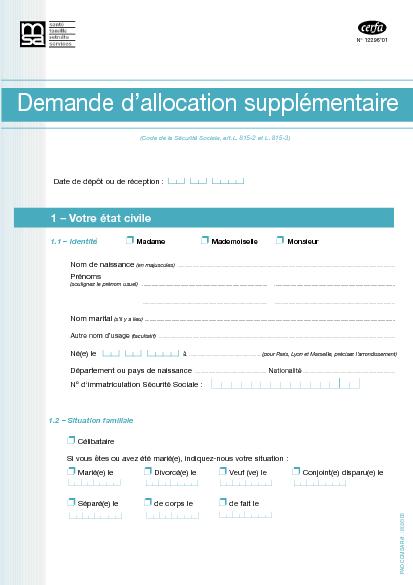 Aperçu Formulaire Cerfa No 12296-01 : Demande d'allocation ...