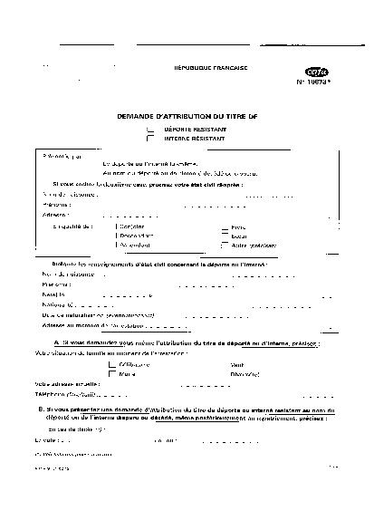 Aperçu Formulaire Cerfa No 10873-02 : Demande d'attribution du titre de déporté résistant, interné résistant