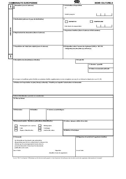 Aperçu Formulaire Cerfa No 11033-03 : Demande d'autorisation d'exportation d'un bien culturel