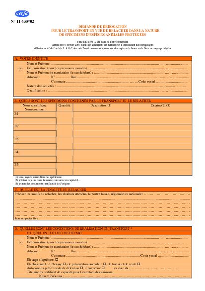 Aperçu Formulaire Cerfa No 11630-02 : Demande d'autorisation de transport en vue de relacher dans la nature des spécimens d'espèces animales protégées