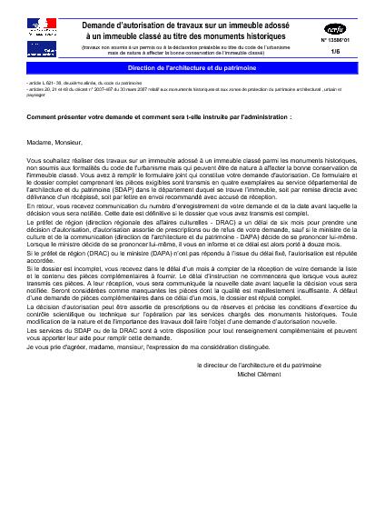 Aperçu Formulaire Cerfa No 13586-01 : Demande d'autorisation de travaux sur un immeuble adossé à un monument historique (travaux non soumis à un permis ou à une déclaration préalable)