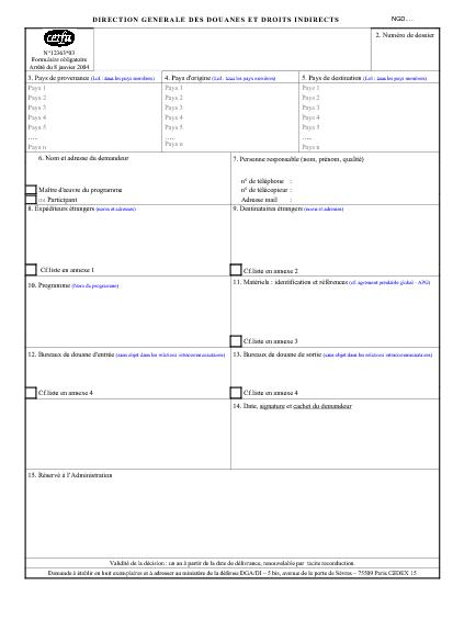 Aperçu Formulaire Cerfa No 12363-03 : Demande d'autorisation globale de transit de matériels de guerre, armes, munitions et materiels assimilés