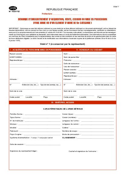 Aperçu Formulaire Cerfa No 14251-03 : Demande d'enregistrement d'acquisition, vente ou cession d'une arme de 5ème catégorie I - Personne morale