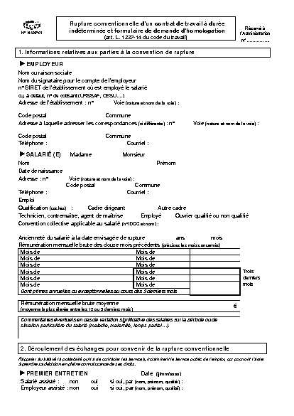 e3f8c28c60e Aperçu Formulaire Cerfa No 14598-01   Demande d homologation d une rupture