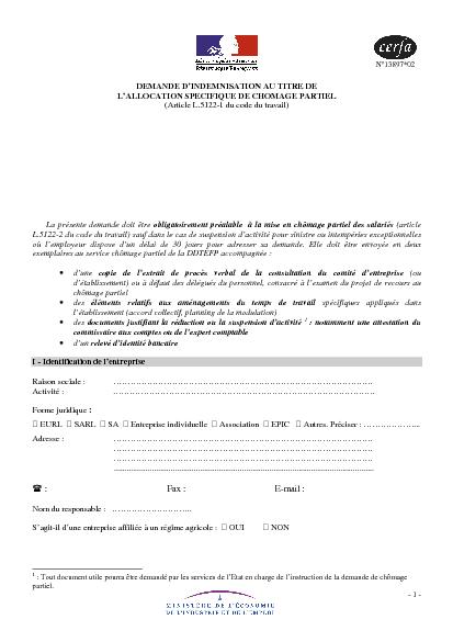 Aperçu Formulaire Cerfa No 13897-02 : Demande d'indemnisation au ...