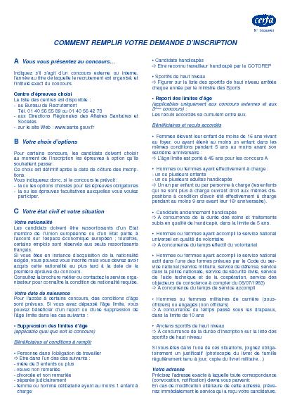 Aperçu Formulaire Cerfa No 51008-01 : Demande d'inscription à un concours