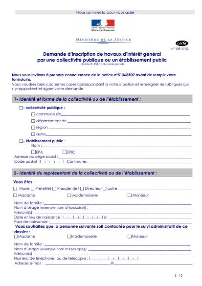 Aperçu Formulaire Cerfa No 13915-02 : Demande d'inscription de travaux d'intérêt général par une collectivité publique ou un établissement public