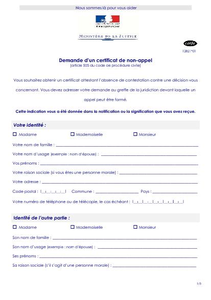 Demande D Un Certificat De Non Appel Formulaire Cerfa Documentissime