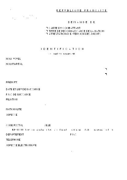 Aperçu Formulaire Cerfa No 10858-02 : Demande de carte du combattant - De titre de reconnaissance de la nation - D'attestation d'extention des droits