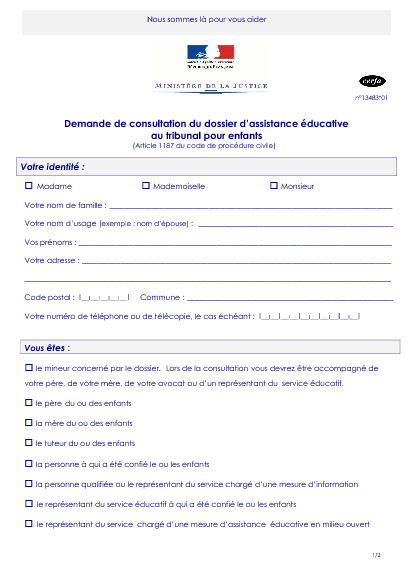 Demande De Consultation Du Dossier D Assistance Educative Au