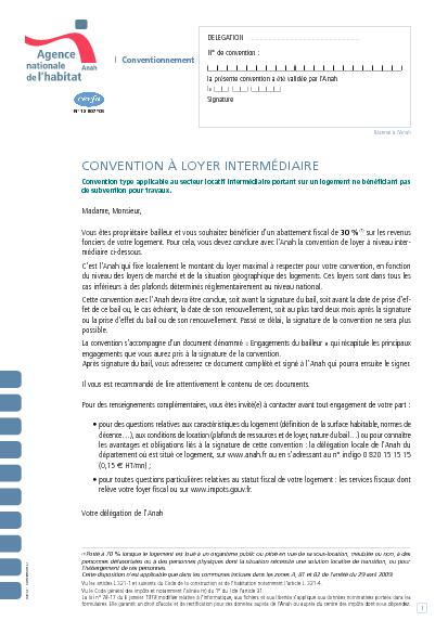 Aperçu Formulaire Cerfa No 12807-05 : Demande de conventionnement à loyer intermédiaire