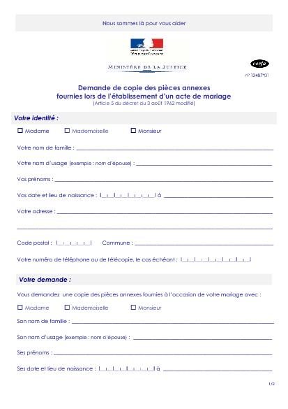 Aperçu Formulaire Cerfa No 13487-01 : Demande de copie des pieces annexes fournies lors de l'établissement d'un acte de mariage