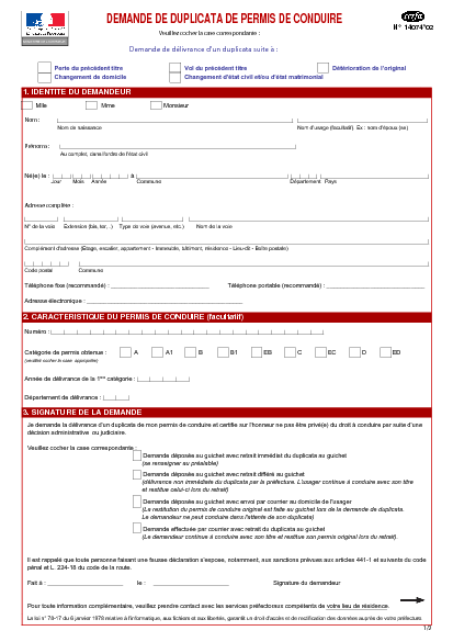 Aperçu Formulaire Cerfa No 14074-02 : Demande de duplicata d'un permis de conduire