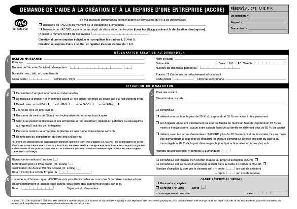 ACCRE TÉLÉCHARGER FORMULAIRE