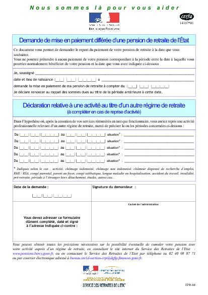 076b99b1c17 Aperçu Formulaire Cerfa No 14107-01   Demande de mise en paiement différée  d