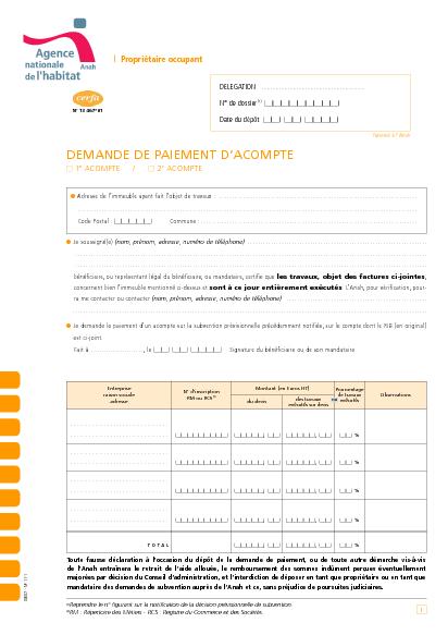Aperçu Formulaire Cerfa No 13467-01 : Demande de paiement d'acompte / Propriétaires occupants