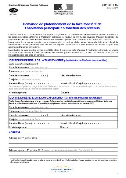 Aperçu Formulaire Cerfa No 14770-03 : Demande de plafonnement de la taxe foncière de l'habitation principale en fonction des revenus