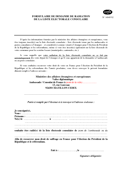 Aperçu Formulaire Cerfa No 14040-02 : Demande de radiation de la liste électorale consulaire