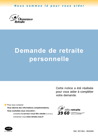 Aperçu Formulaire Cerfa No 10916-06 : Demande de retraite personnelle