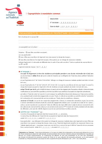 Aperçu Formulaire Cerfa No 13459-02 : Demande de subvention de l'ANAH pour travaux - Engagement du propriétaire occupant