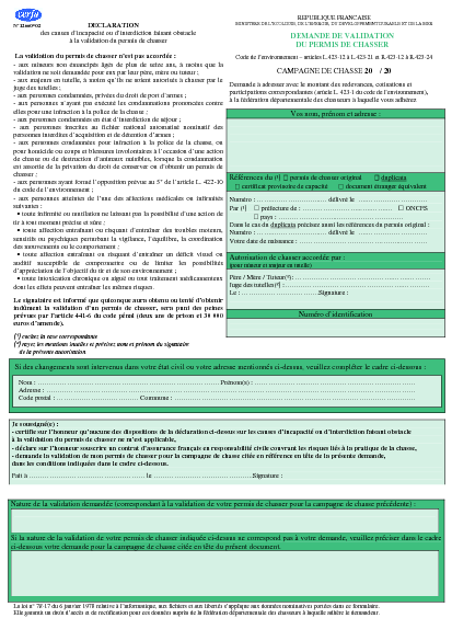 Demande de validation du permis de chasser formulaire for Formulaire cerfa demande de permis de construire