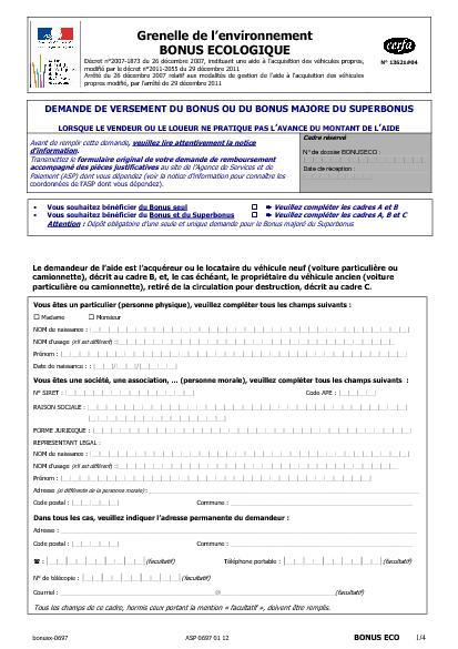 Aperçu Formulaire Cerfa No 13621-08 : Demande de versement du bonus et du superbonus lorsque le vendeur ou le loueur ne pratique pas l'avance du montant de l'aide